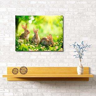 """Картина """"Кролики на полянке"""", 60*40 см"""