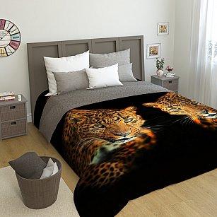 """Стеганое фотопокрывало """"Два леопарда"""", 200*220 см"""