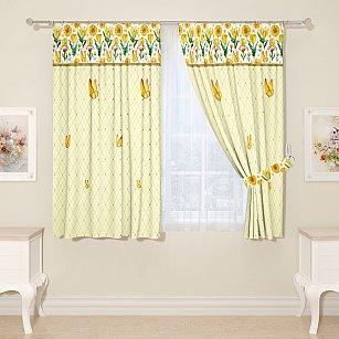 """Комплект штор для кухни """"Нарциссы и бабочки"""""""