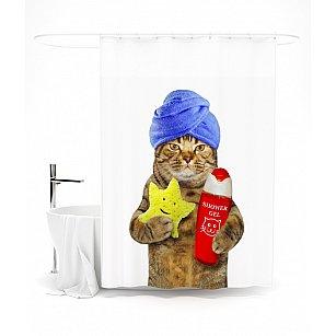 """Штора для ванной """"Я следующий"""", 145*180 см"""