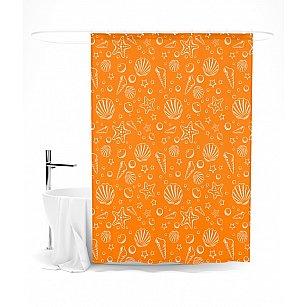 """Штора для ванной """"Узор из ракушек"""", 145*180 см"""