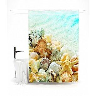 """Штора для ванной """"Королевство ракушек"""", 145*180 см"""