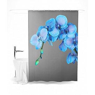 """Штора для ванной """"Голубая орхидея"""", 145*180 см"""