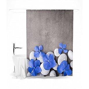 """Штора для ванной """"Синяя плюмерия"""", 145*180 см"""
