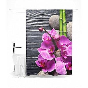 """Штора для ванной """"Контраст орхидеи и бамбука"""", 145*180 см"""