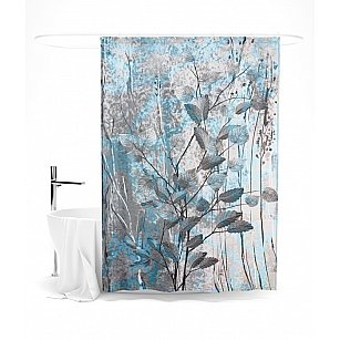 """Штора для ванной """"Медно-голубые листья"""", 145*180 см"""