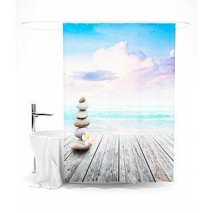 """Штора для ванной """"Море и камни"""", 145*180 см"""