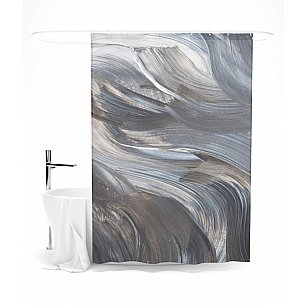 """Штора для ванной """"Волнистые мазки"""", 145*180 см"""