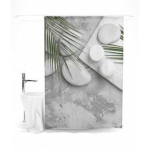 """Штора для ванной """"Спа в оттенках серого"""", 145*180 см"""