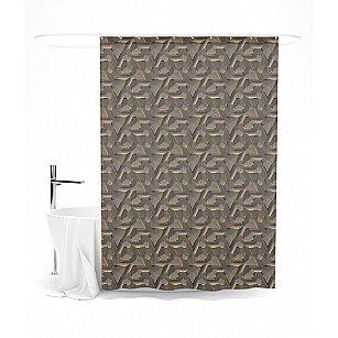 """Штора для ванной """"Медная геометрия"""", 145*180 см"""
