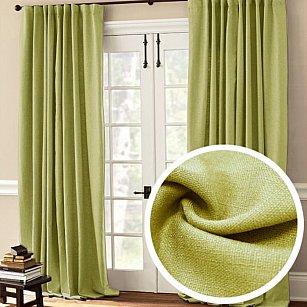 Комплект штор лен однотонный RR 090-10, зеленый, 200*270 см