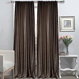 Комплект штор софт шелк RR 8156-104, коричневый, 200*270 см