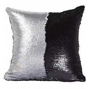 Подушка переводная из пайеток Magic Shine, черное серебро, 40*40 см