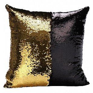 Подушка переводная из пайеток Magic Shine, черное золото, 40*40 см