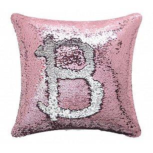 Подушка переводная из пайеток Magic Shine, розовое серебро, 40*40 см-A