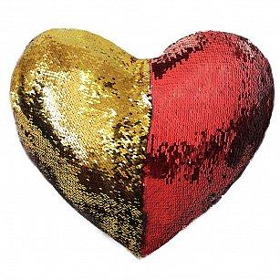 Подушка переводная из пайеток Magic Shine Сердце, красное золото, 35*40 см-A