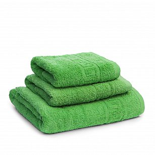 Полотенце махровое Ашхабад греческий бордюр, зеленый, 40*70 см