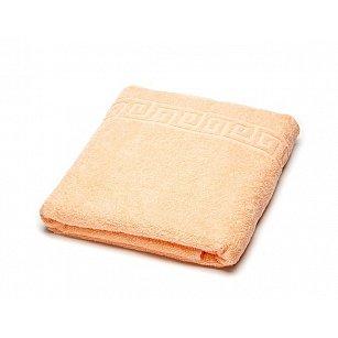 Полотенце махровое Ашхабад греческий бордюр, светло-оранжевый