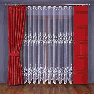 Комплект штор №351W, красный