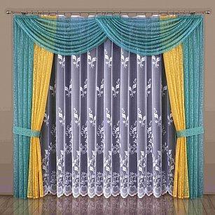 Комплект штор №541W, бирюзовый, желтый, белый