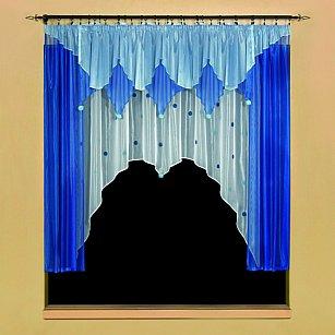 """Комплект штор для кухни """"Помпоники"""" №5491-02, синий, голубой"""