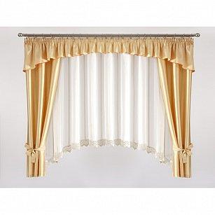 Комплект штор для кухни №5645-01, золотой, белый