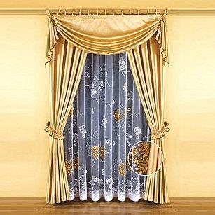 """Комплект штор """"Злата"""" №5664, золотой, белый"""