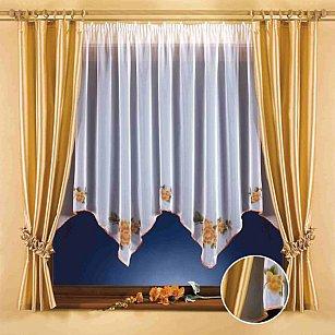 Комплект штор для кухни №5665, золотой, белый