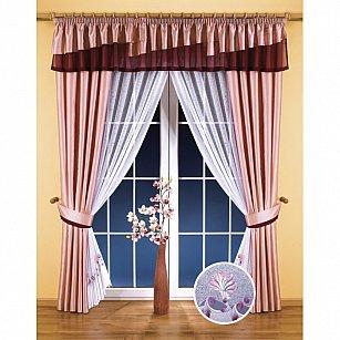 Комплект штор №5709, розовый, белый