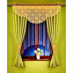 Комплект штор для кухни №5722, салатовый, желтый