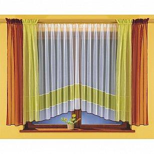 Комплект штор для кухни №5759, бордовый, салатовый, белый