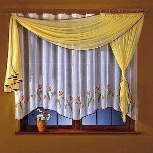 Комплект штор для кухни №5764-01, желтый, белый