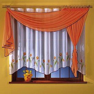 Комплект штор для кухни №5764-02, оранжевый, белый