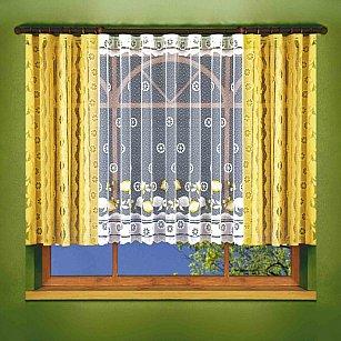 Комплект штор для кухни №6109, желтый, белый