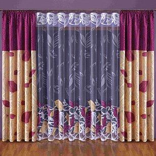 Комплект штор №003W, бордовый, кремовый