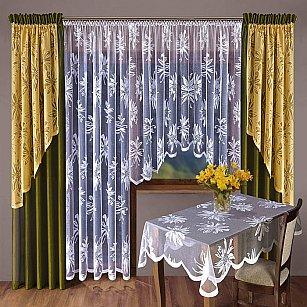 Комплект штор №012W, хаки, желтый, белый