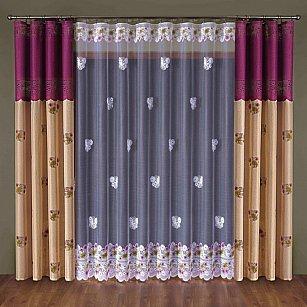 Комплект штор №014W, бордовый, кремовый