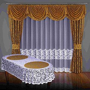 Комплект штор №043W, коричневый, белый