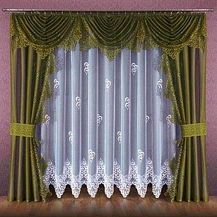 Комплект штор №089W, оливковый, белый