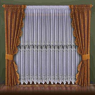 Комплект штор №092W, коричневый, золотой