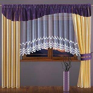 Комплект штор №093W, фиолетовый, желтый