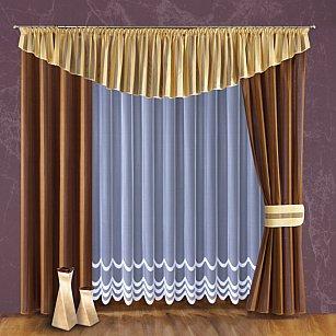 Комплект штор №094W, коричневый, кремовый