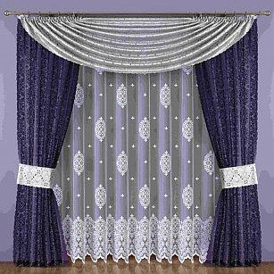 Комплект штор №183W, фиолетовый, серый