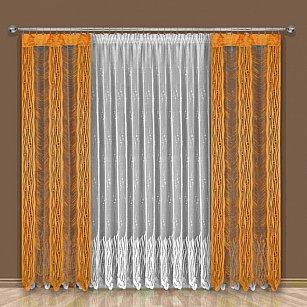 Комплект штор №192W, оранжевый, белый