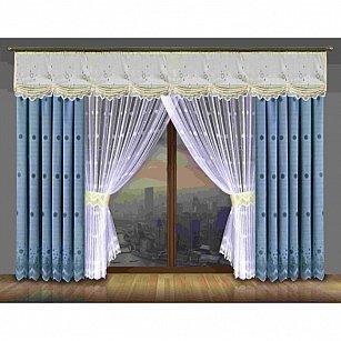 Комплект штор №195W, голубой, белый