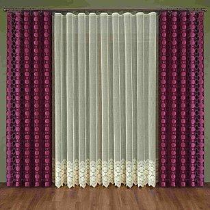 Комплект штор №347W, бордовый, бежевый