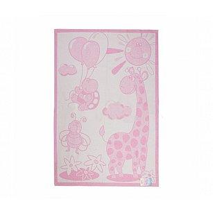 """Одеяло детское """"Жираф"""", белый, розовый, 100*140 см"""