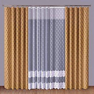 Комплект штор Primavera №1110088, коричневый, белый