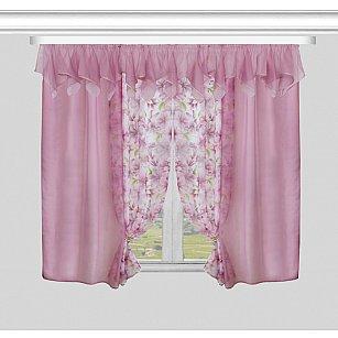 Комплект штор для кухни №55692, розовый