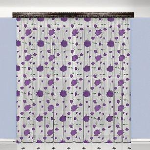 Тюль №777037, белый, фиолетовый
